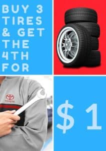 Buy 3 tires and get the fourth for only $1 on select tires at Peoria Toyota! We have different promotion dates for different tires, so click the link for full details here: http://bit.ly/2ykNXVm