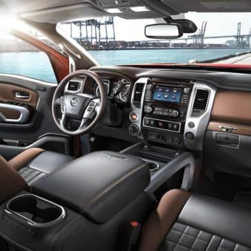 2018 Nissan Titan black and brown leather interior