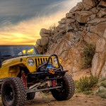 Yellow Jeep in the desert
