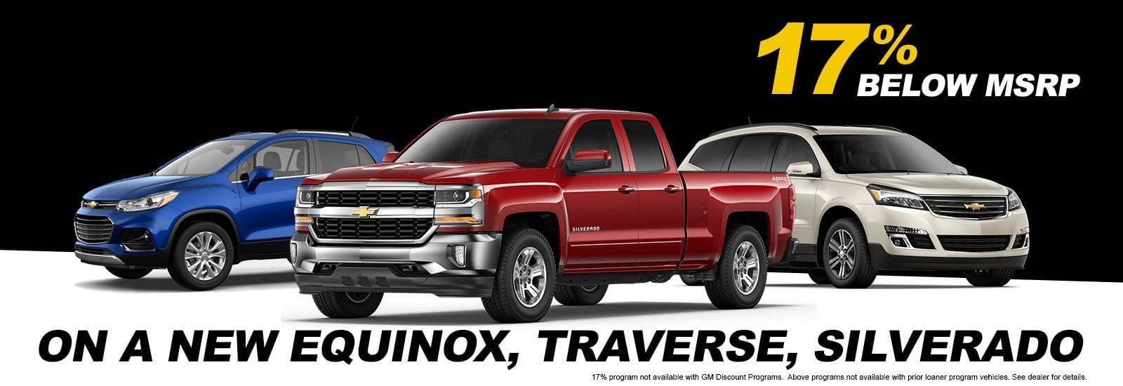Get 17 Percent off new Equinox, Traverse, Silverado