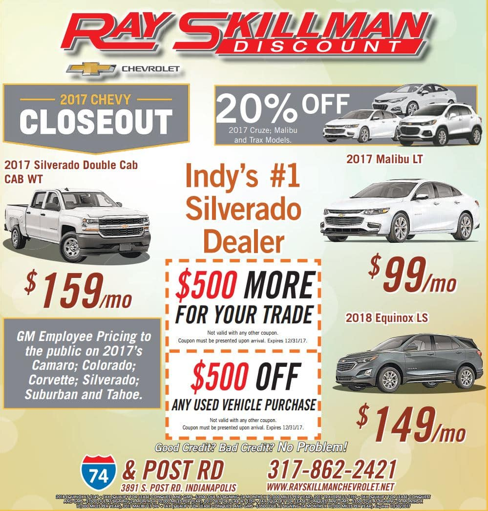2017 Chevy Closeout at Ray Skillman Discount Chevrolet