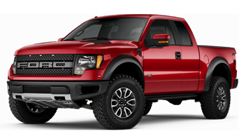 red Ford F-150 Raptor truck