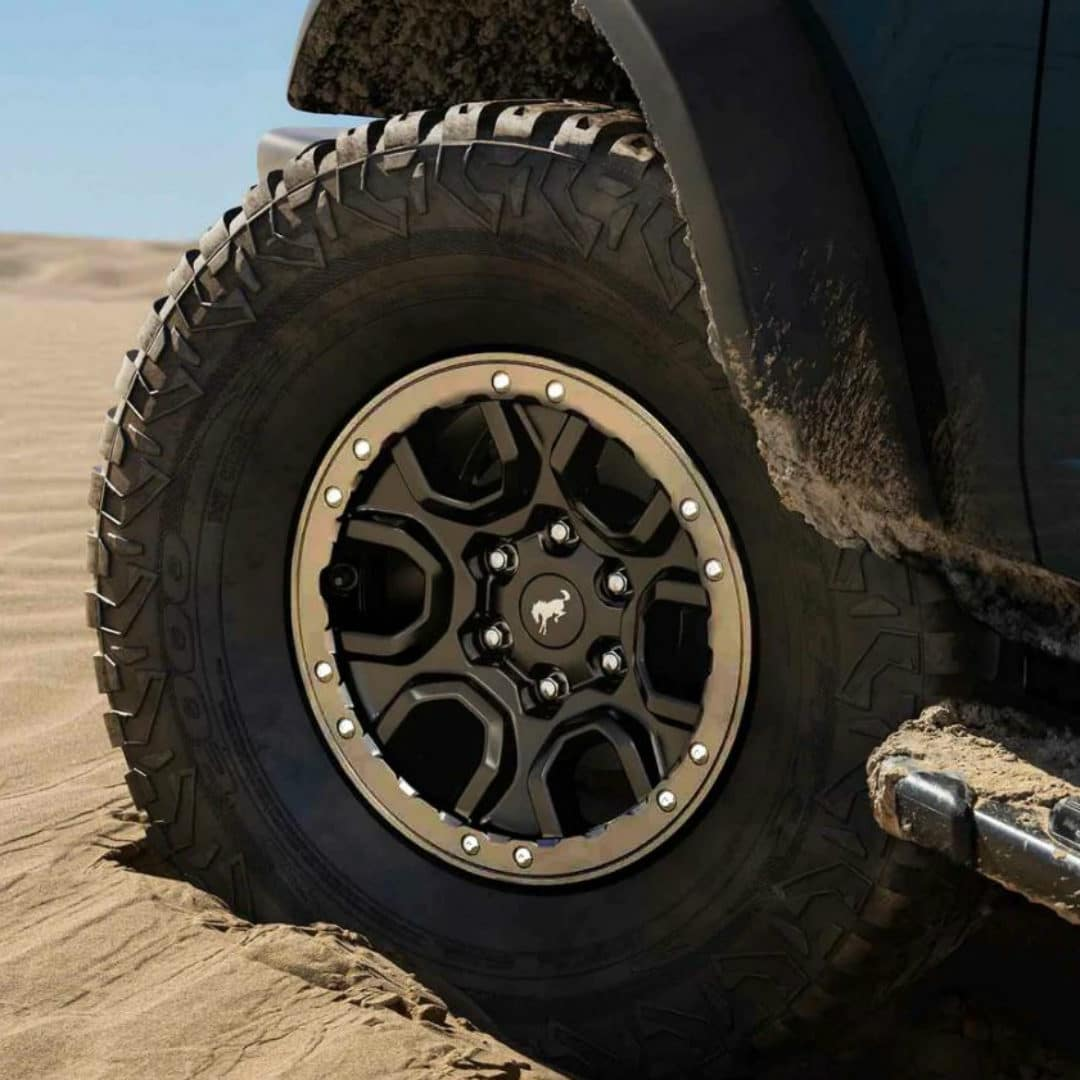 bronco tire in sand
