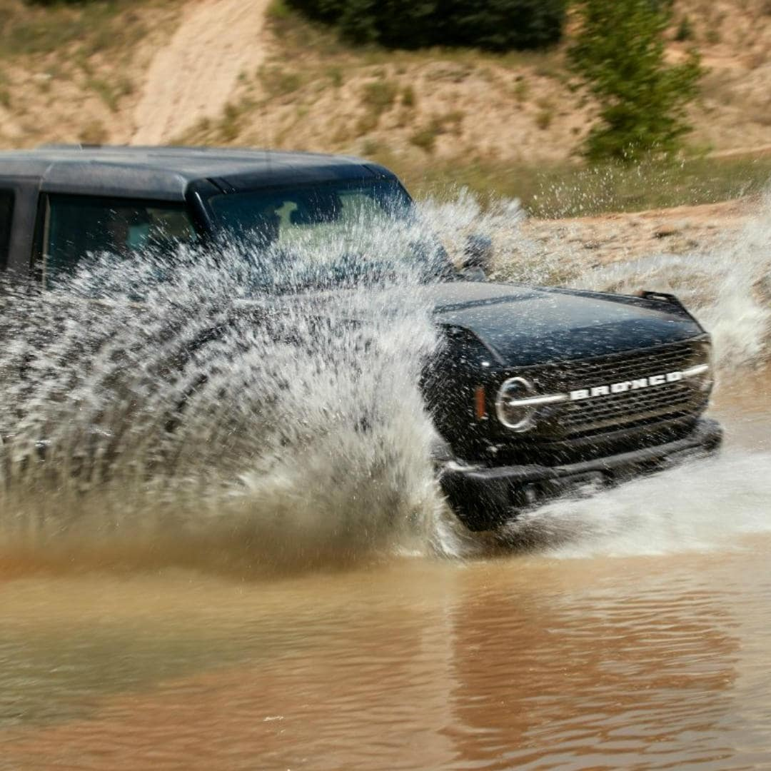 bronco in water