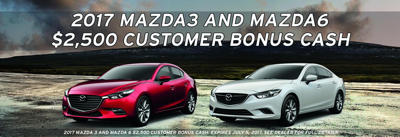Mazda3 and Mazda6 bonus cash
