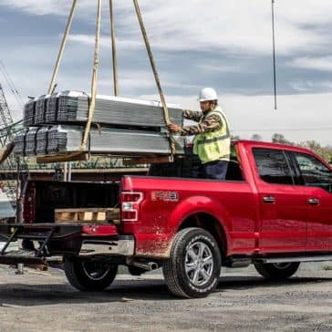 Machine Loading Heavy Objects in Bed of 2019 Ford F-150