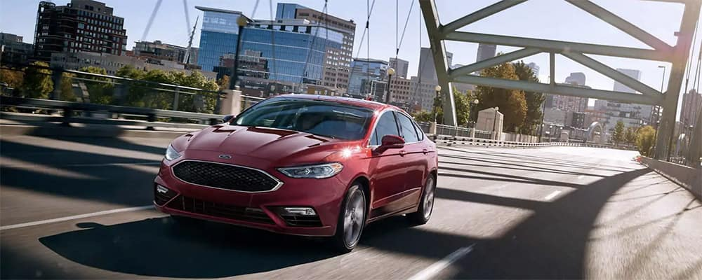 2019 Ford Fusion on a bridge banner