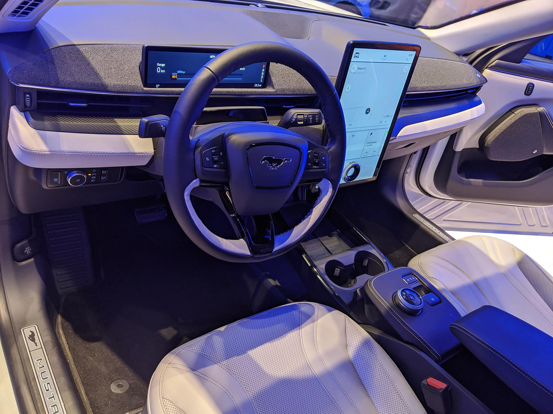 2021 Mustang Mach-E front interior at the 2020 Chicago Auto Show