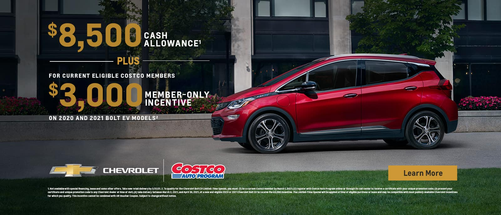 8500 cash allowance plus 3000 member-only incentive for current eligible costco members on 2020 and 2021 bolt ev models