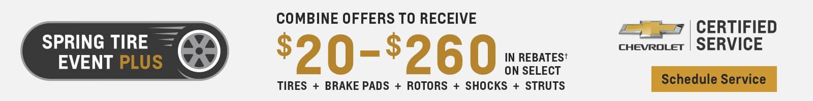 Spring Tire Event Plus $20-$260 in rebates on select tires brake pads rotors shocks struts