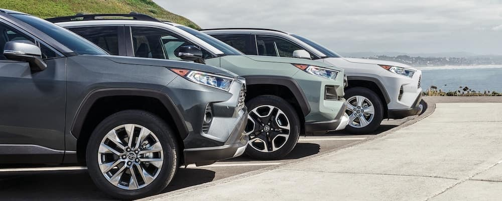 Three 2019 Toyota RAV4 models in profile next to ocean