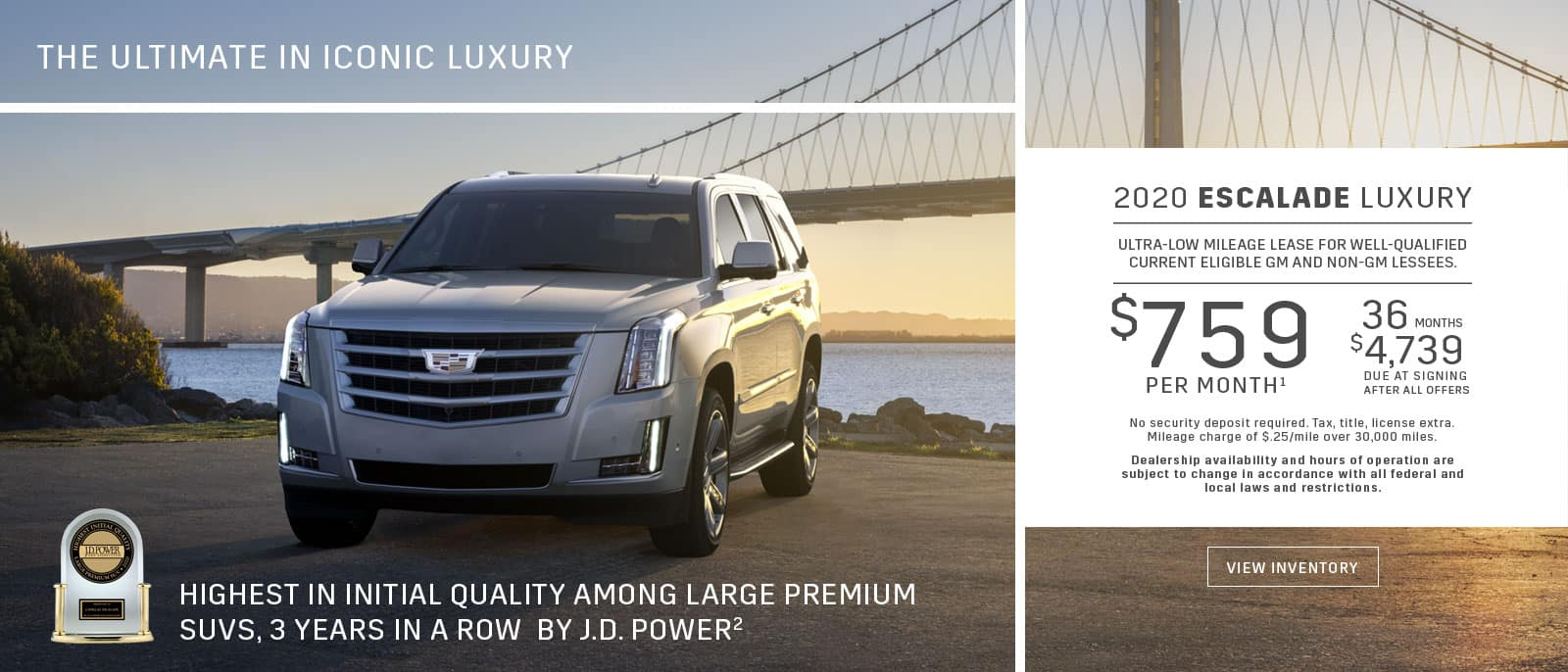 Cadillac Escalade Lease - JD Power Award