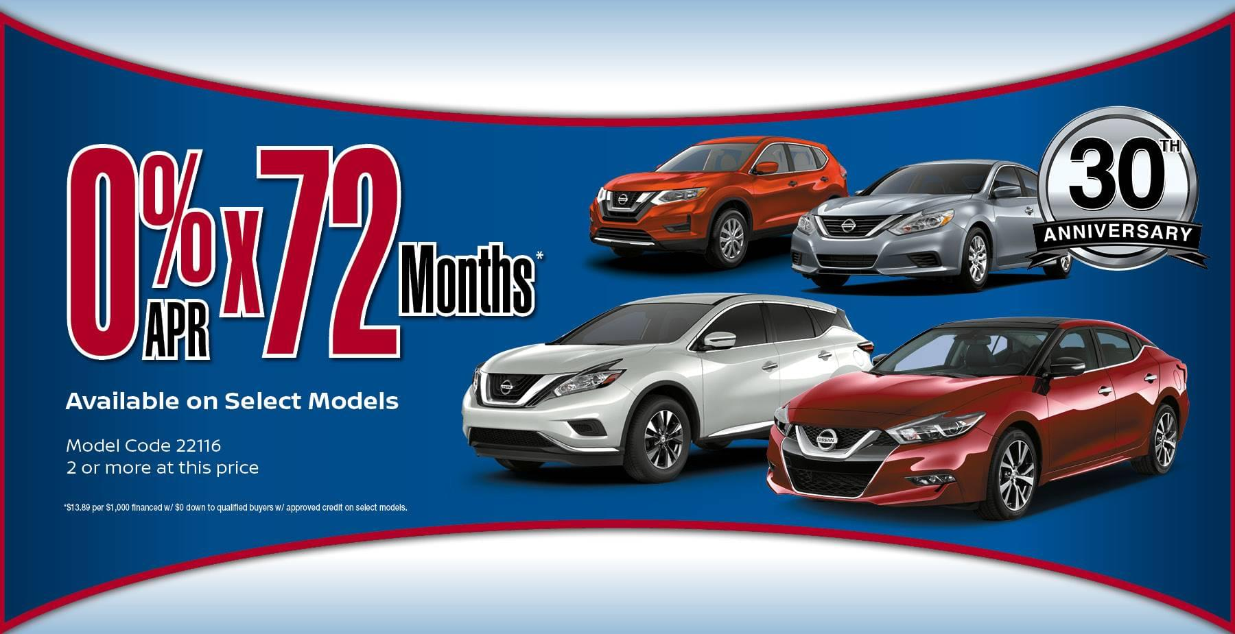 0% for 72 Months on Select Models!