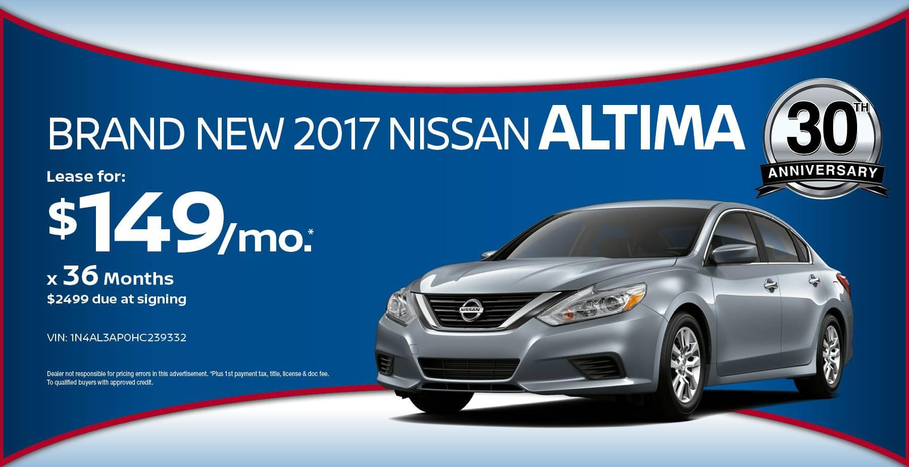 2017 Nissan Altima May Offer at Star Nissan