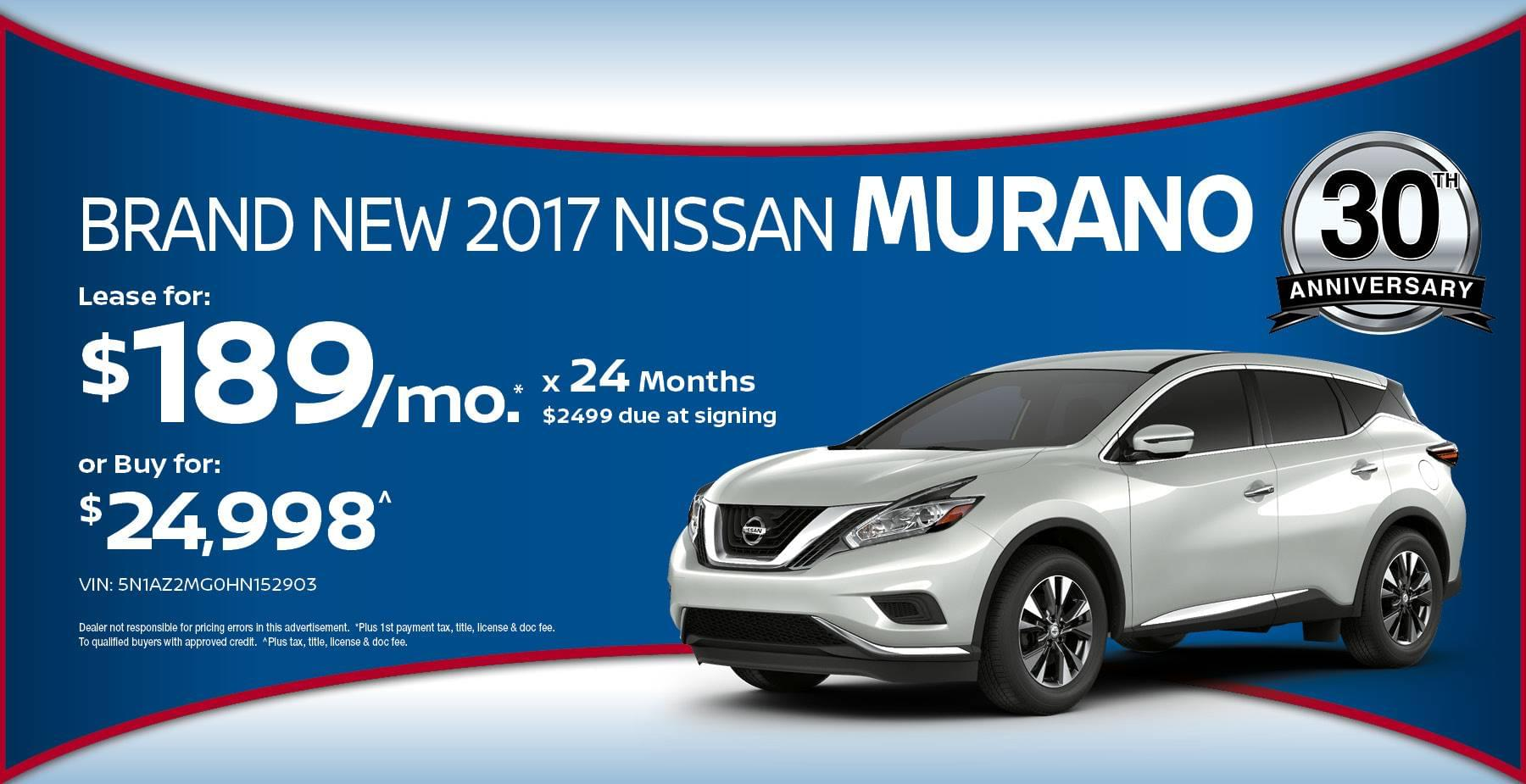 2017 Nissan Murano May Offer at Star Nissan