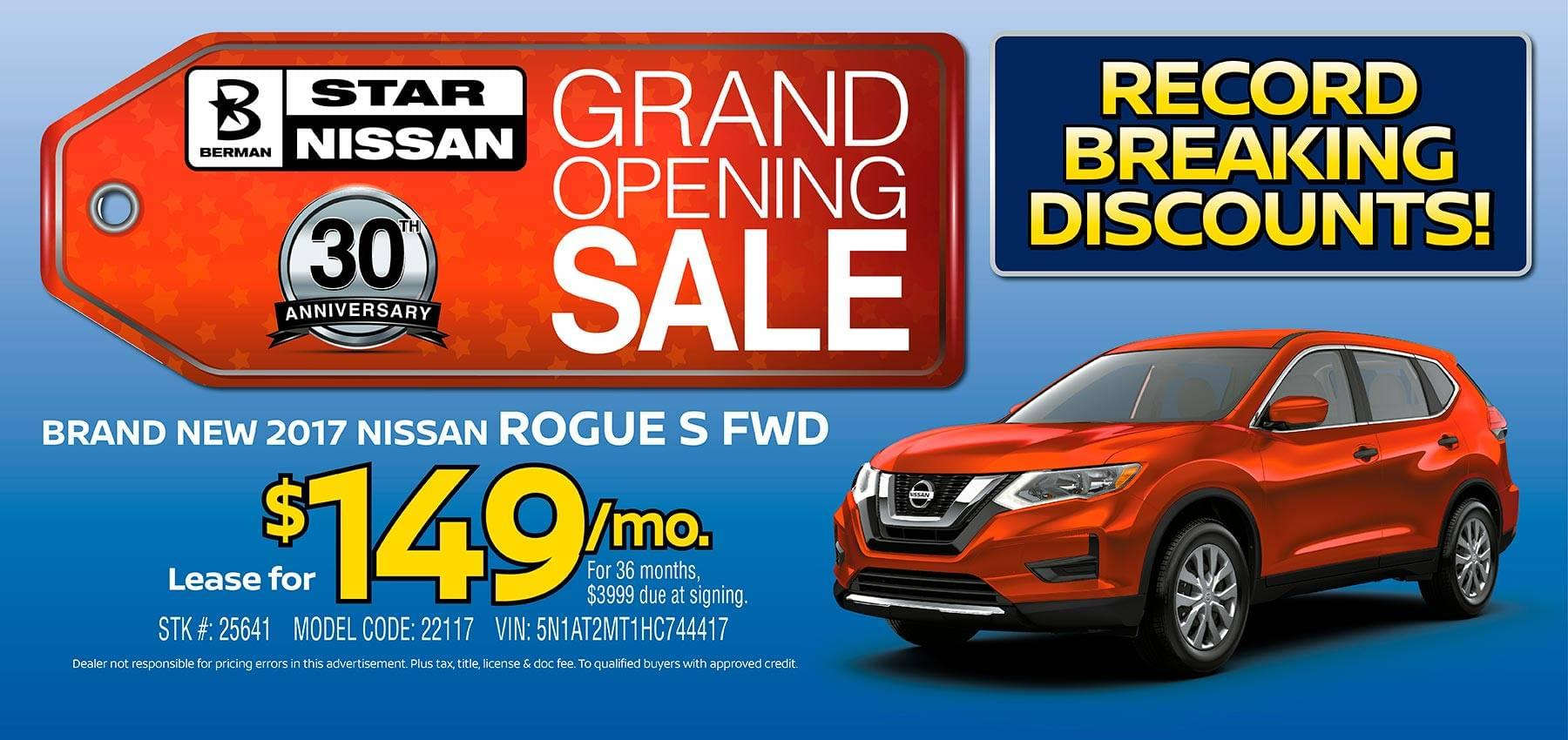 April Star Nissan Grand Opening Sale 2017 Nissan Rogue Offer