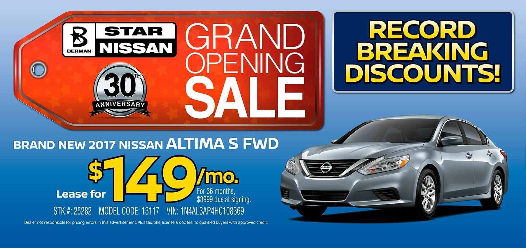 April Star Nissan Grand Opening Sale 2017 Nissan Altima Offer