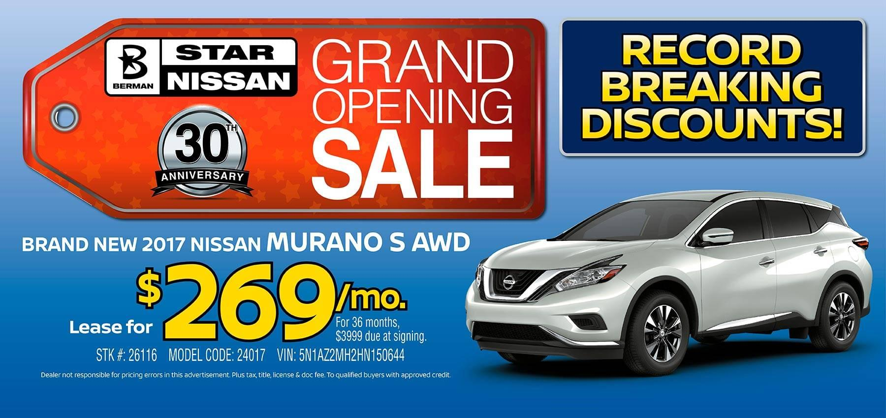 April Star Nissan Grand Opening Sale 2017 Nissan Murano Offer
