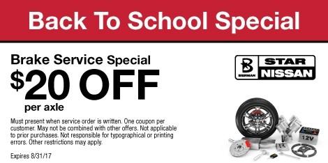 Back to School Brake Service Special: $20 OFF per axle