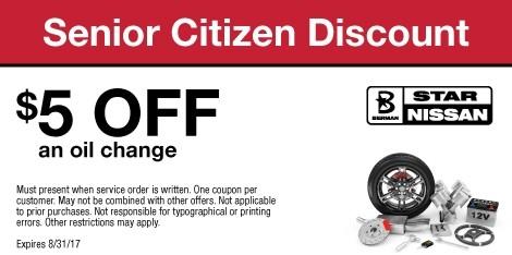 Senior Citizen Discount: $5 OFF an oil change