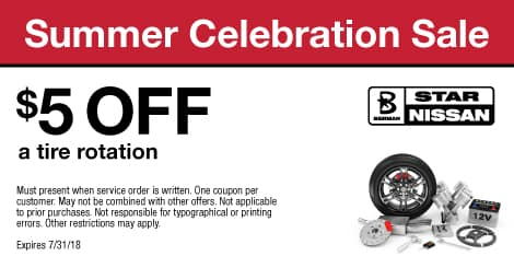 Summer Celebration Sale: $5  OFF a tire rotation