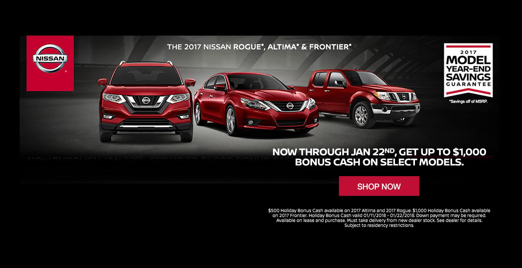 Get up to $1,000 Bonus Cash on Select 2017 Models at Star Nissan!