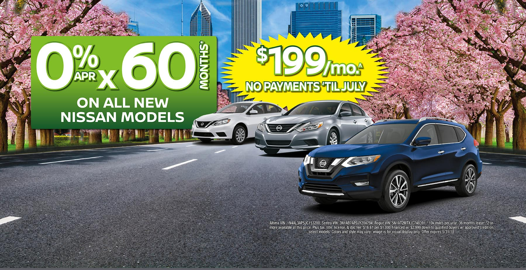 0% APR for 60 Months on All New Nissan Models at Star Nissan!