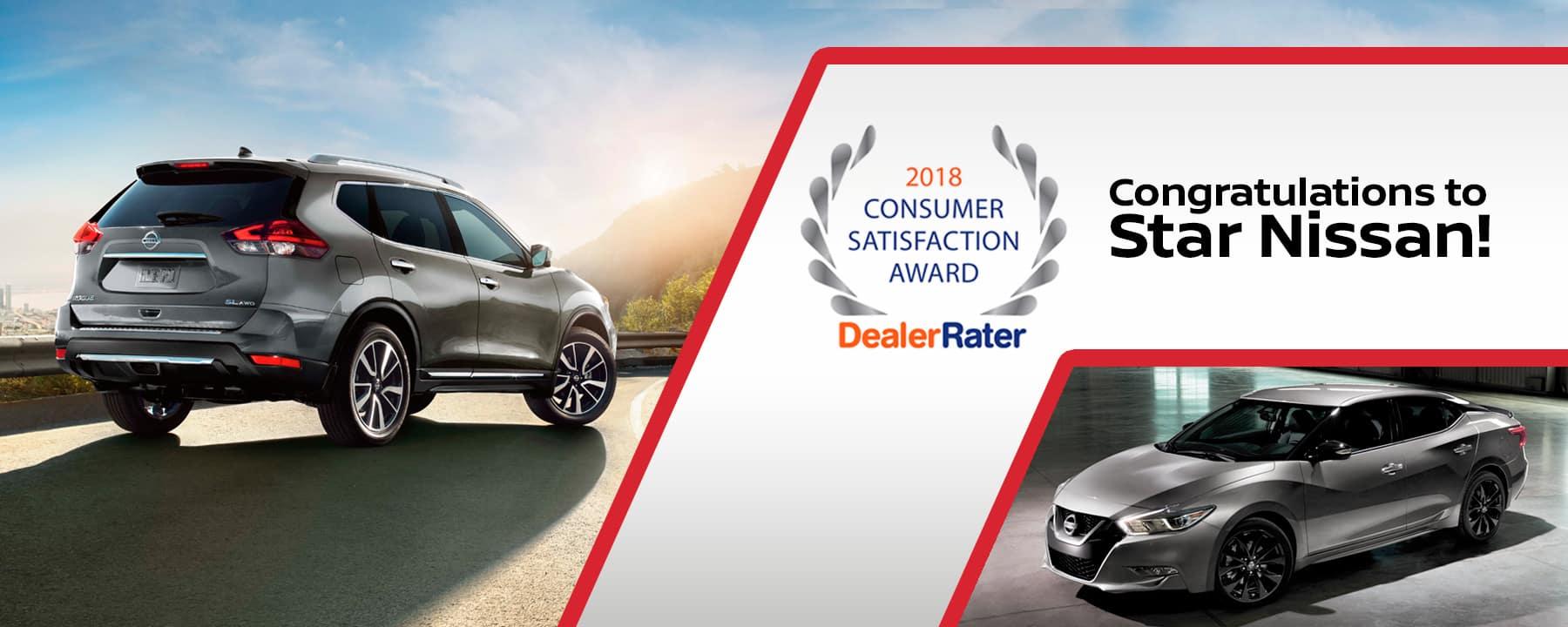 Star Nissan wins DealerRater 2018 Consumer Satisfaction Award!