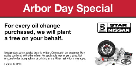 Arbor Day Special: For every oil change purchased, we will plant a tree on your behalf.