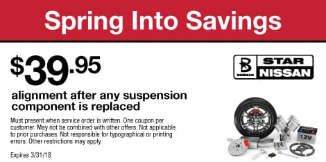 Spring Into Savings: $39.95 alignment after any suspension component is replaced
