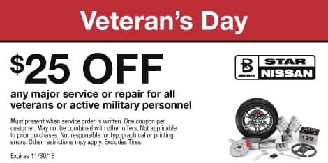 Veteran's Day: $25 OFF any major service or repair for all veterans or active military personnel