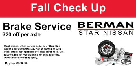Fall Check-Up: Brake Service Special: $20 off per axle