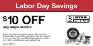 Labor Day Savings: $10 OFF any major service