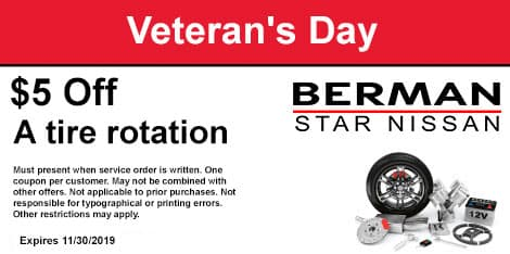 Veteran's Day Special: $5 OFF a tire rotation