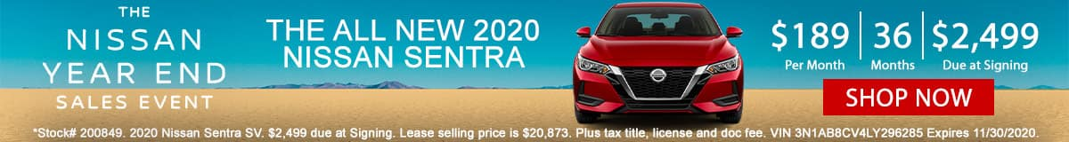 Nissan Year End Sales Event 2020 Nissan Sentra Lease Offer