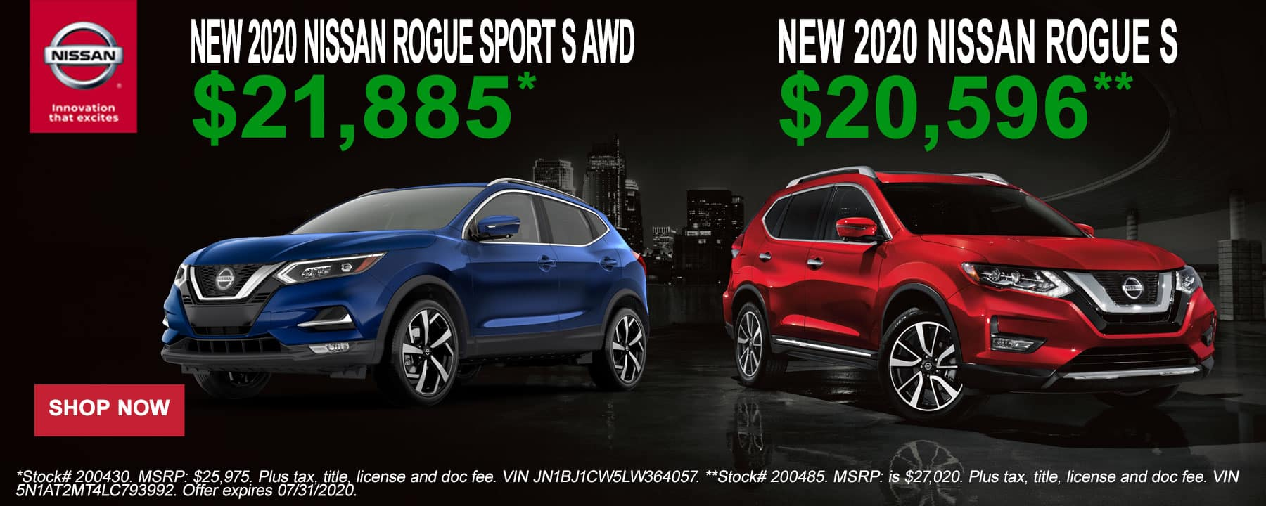 2020 Nissan Rogue and Rogue Sport July Offer at Star Nissan