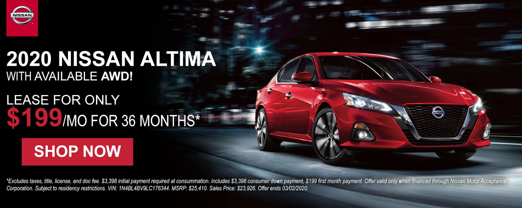 Lease a 2020 Nissan Altima for only $199