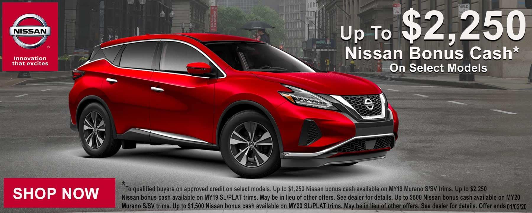 Save THOUSANDS with Nissan Bonus Cash on Select 2019 or 2020 Nissan Murano