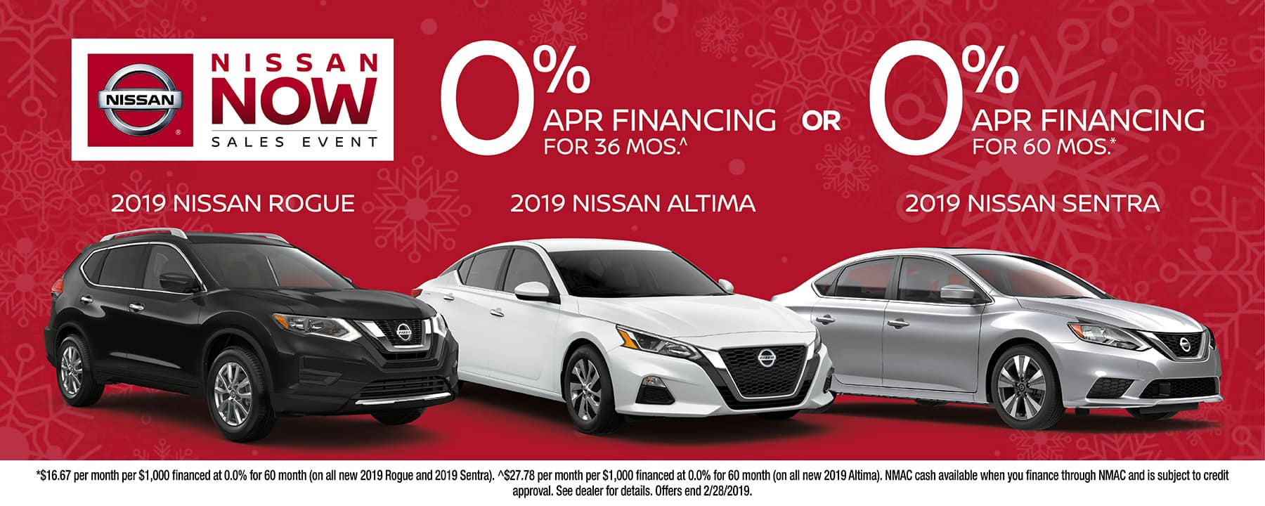 Take advantage of 0% APR Financing on a 2019 Nissan Sentra, 2019 Nissan Rogue, or 2019 Nissan Altima at Star Nissan!