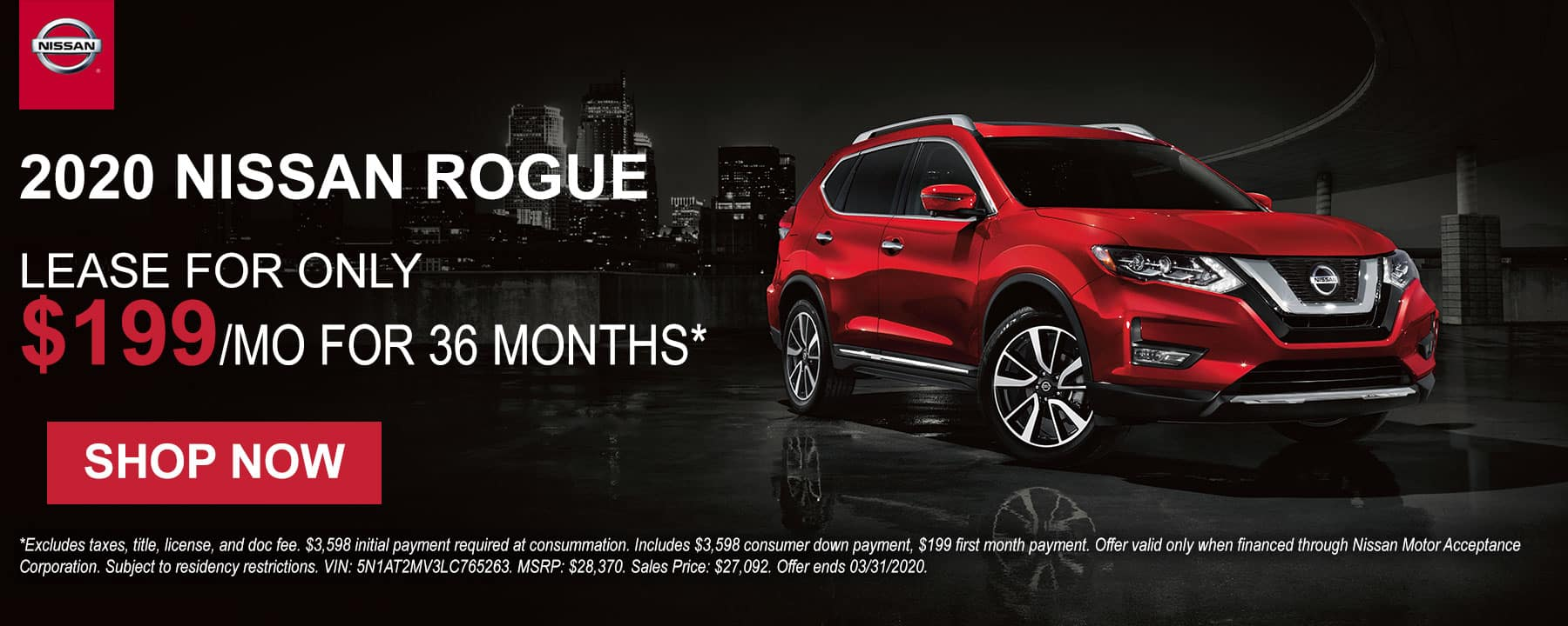 Lease a 2020 Nissan Rogue for only $199