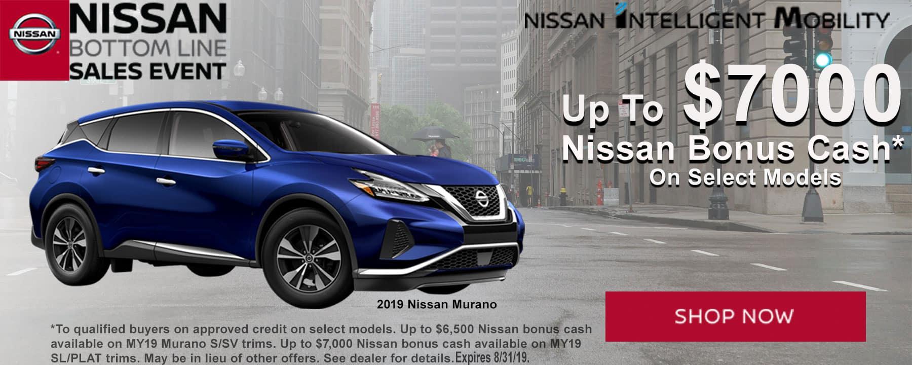 Get Up to $7,000 Nissan Bonus Cash on 2019 Nissan Murano at Star Nissan!