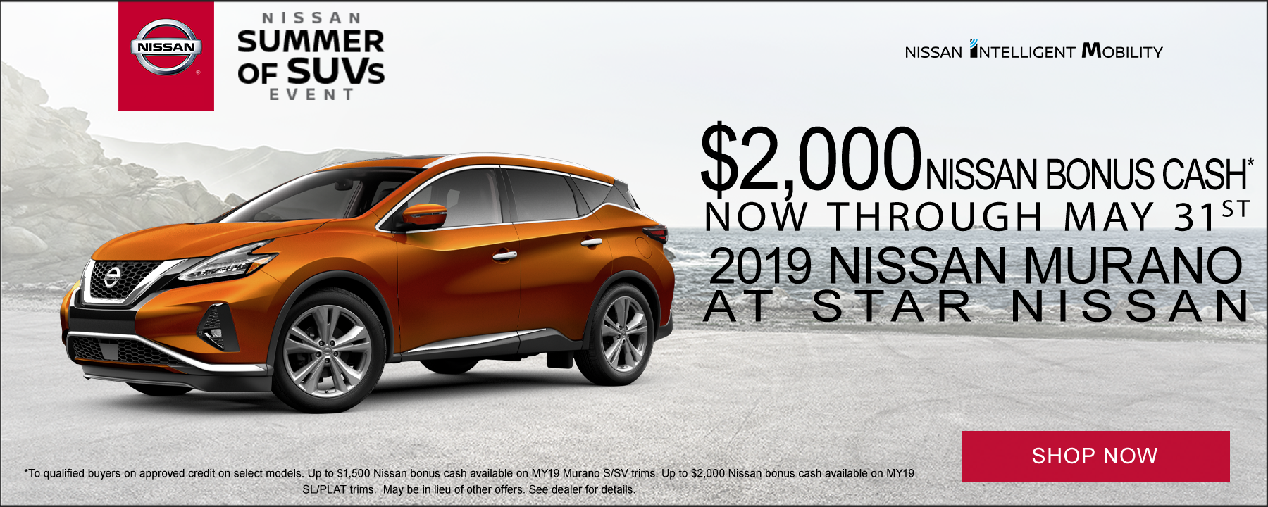 Up to $2,000 Bonus Cash available on 2019 Nissan Murano at Star Nissan!