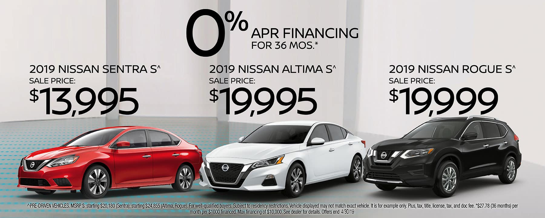 Pre-Driven 2019 Vehicles at prices you won't see anywhere else. Choose between 2019 Sentra, 2019 Altima, or 2019 Rogue at Star Nissan!