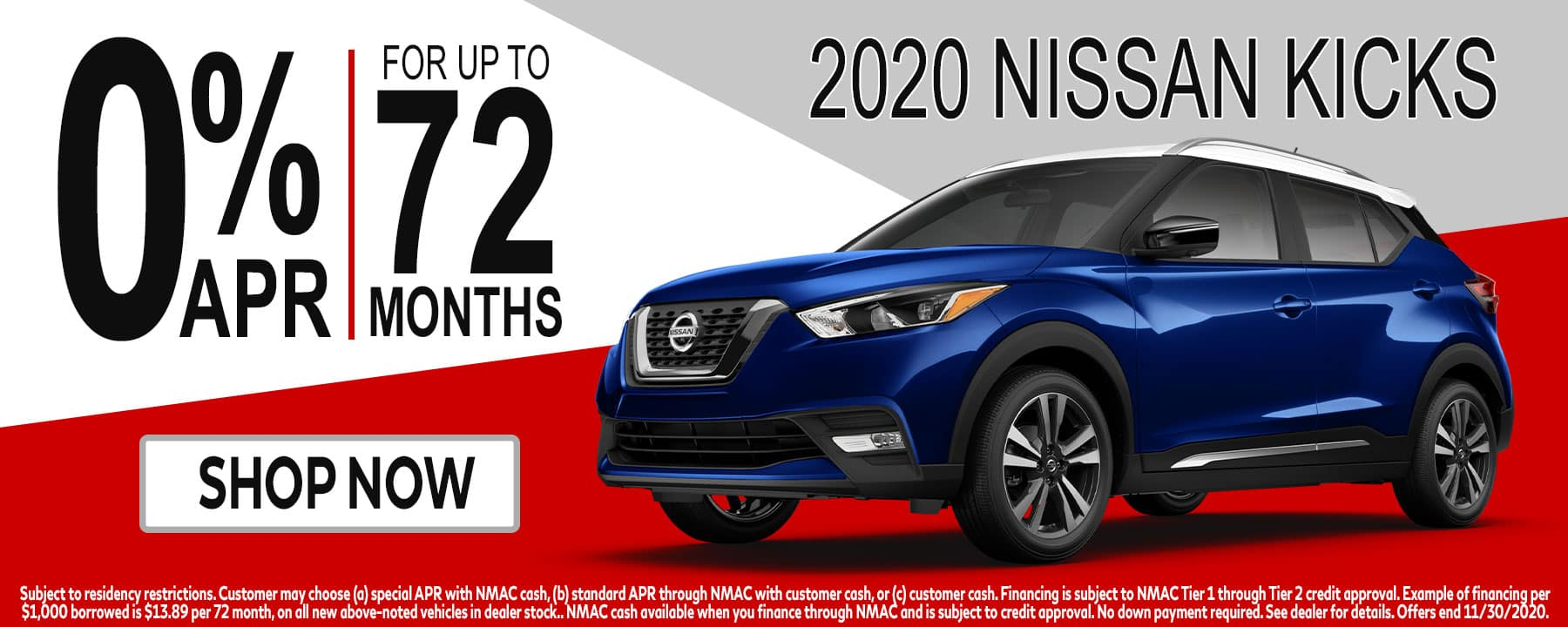 Get 0% for 72mos on the 2020 Nissan Kicks at Star Nissan