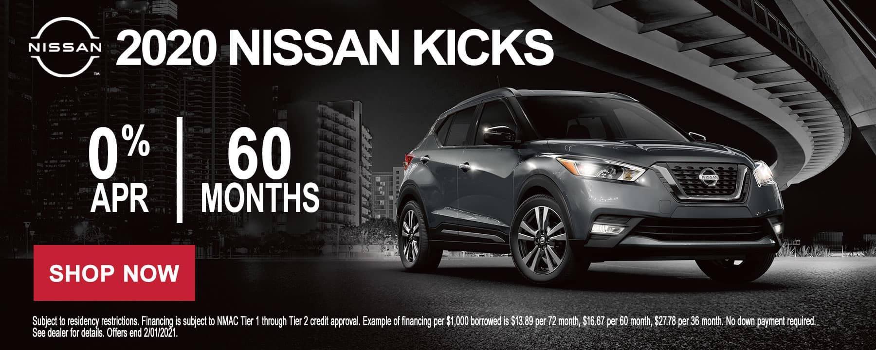 Get 0% for 60mos on the 2020 Nissan Kicks at Star Nissan