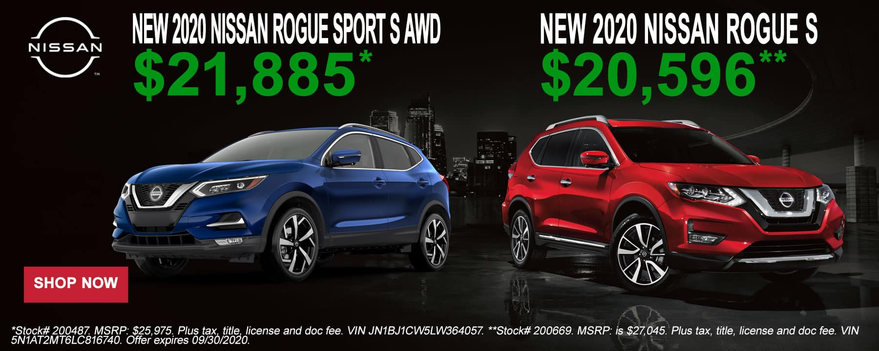 2020 Nissan Rogue and Rogue Sport September Offer at Star Nissan