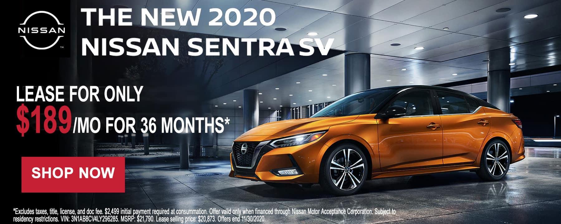 2020 Nissan Sentra November Lease Offer at Star Nissan