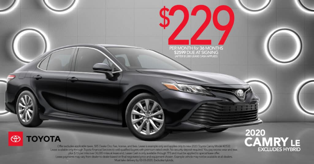Lease a 2020 Toyota Camry LE for Just $229 a mo. + tax