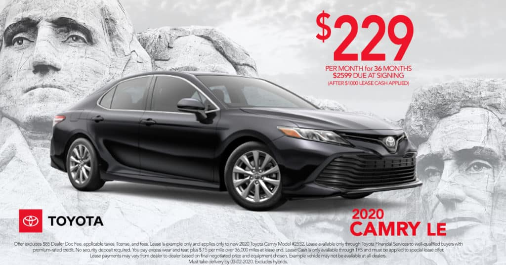 Lease a 2020 Toyota Camry LE for Just $229 a mo. + tax (On Approved Credit)n Excludes Hybrid