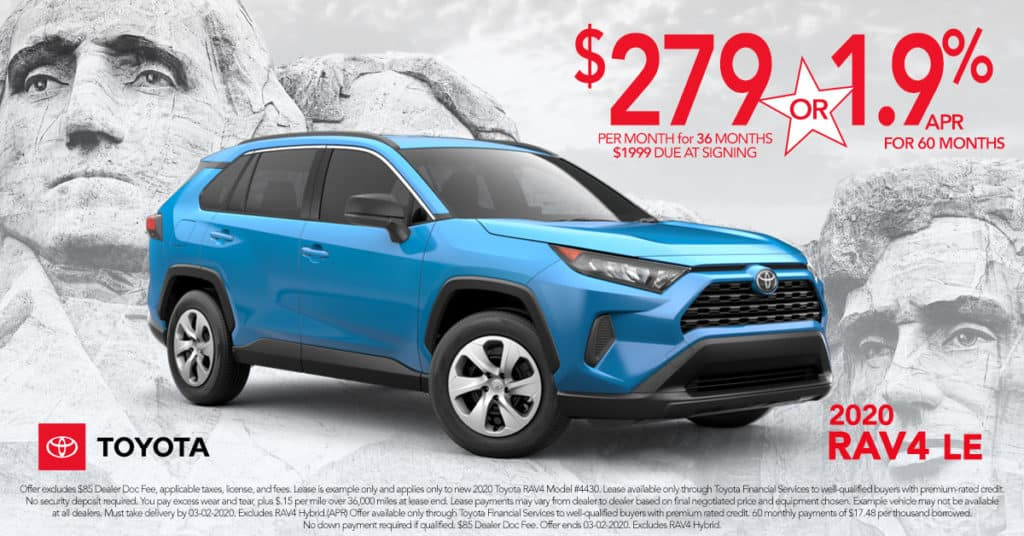 Lease a 2020 Toyota Rav4 LE for $279 a mo.+Tax  or Get 1.9% APR for 60 Months on Approved Credit